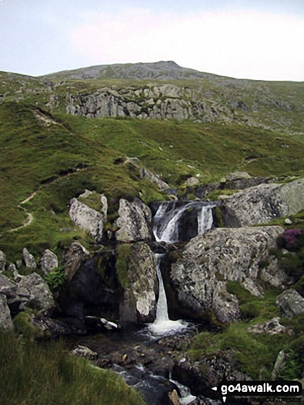 Afon Goch Waterfalls with Llwytmor beyond