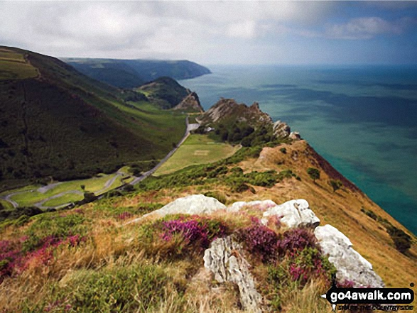The Valley of Rocks taken from the top of Hollerday Hill with an 800ft sheer drop down into the Bristol Channel