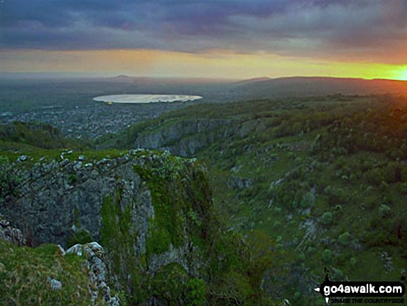 Cheddar Gorge at Sunset. Walk route map so110 Beacon Batch from Cheddar Gorge photo