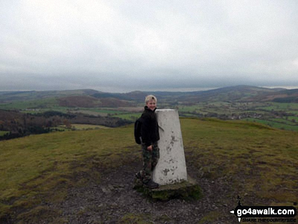 My son Harry on the top of Earl's Hill near Pontesbury Great views of the welsh mountains.
