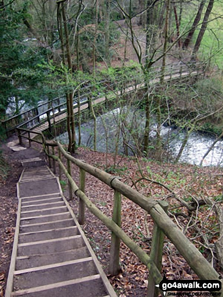 The steps down to Giant's Castle Bridge over the River Bollin in Styal Country Park