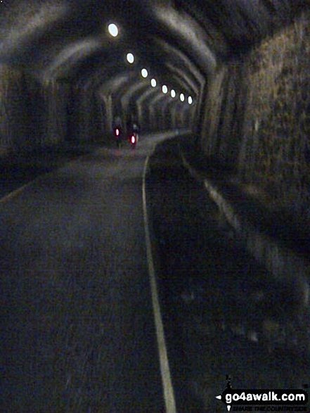 In the recently reopened Litton Tunnel on the Monsal Trail. Walk route map d163 Tideswell and The Monsal Trail from Peak Forest photo