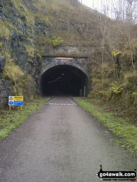 The recently reopened Litton Tunnel on the Monsal Trail. Walk route map d138 Monks Dale, Miller's Dale and Tideswell Dale from Tideswell photo