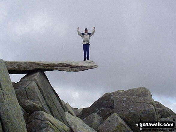 My best friend on top of the cantilever on Glyder Fach