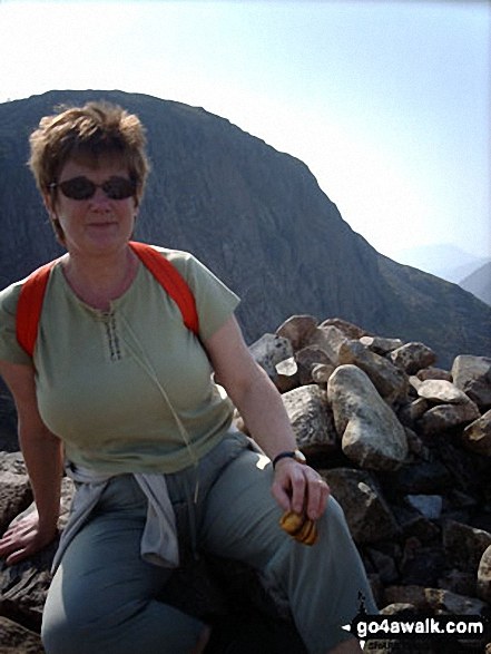 My wife Pamela on the top of Green Gable with Great Gable behind