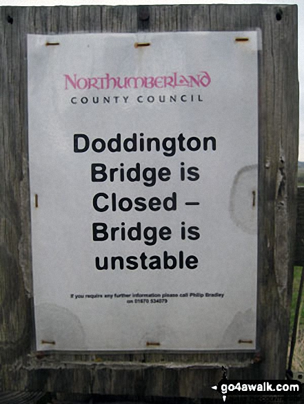 Doddington Bridge warning notice