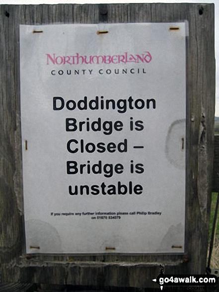 Doddington Bridge warning notice