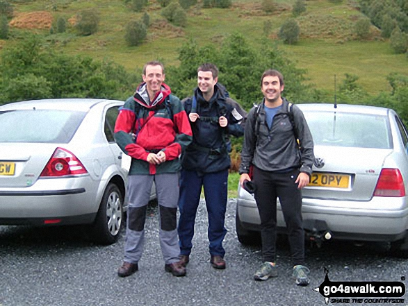 Pete, George and myself Andy Brown at the bottom of Ben Nevis ready to start the Three Peaks Challenge
