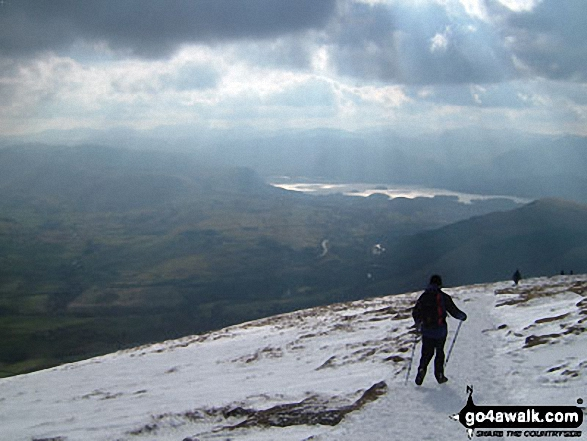 Derwent Water from Blencathra or Saddleback (Hallsfell Top) in the Snow