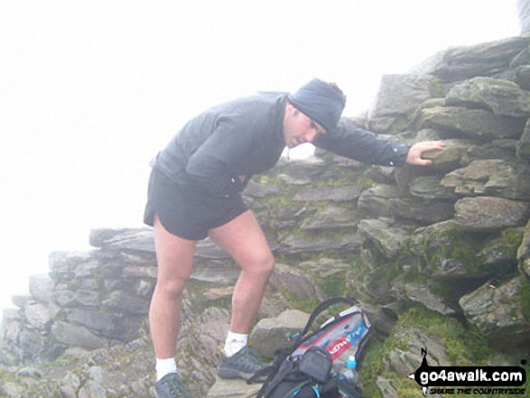 Andy Brown on Snowdon during the Three Peaks Challenge. Walk route map gw198 The Welsh 3000's (Snowdon Area) from Pen y Pass photo