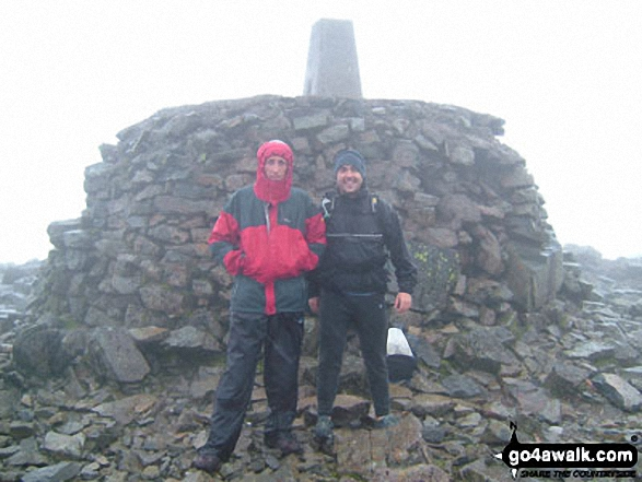 Pete and Andy on Ben Nevis during the Three Peaks Challenge. Walk route map h100 Ben Nevis via The Tourist Path from Achintee, Fort William photo