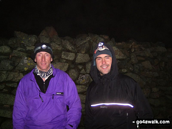 Pete and Andy on Scafell Pike (at 4am) during the Three Peaks Challenge. Walk route map c370 Scafell Pike from Seathwaite photo