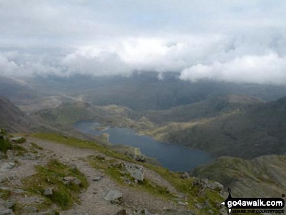 Llyn Llydaw from the summit of Mount Snowdon (Yr Wyddfa). Walk route map gw186 Snowdon and Moel Cynghorion from Llanberis photo