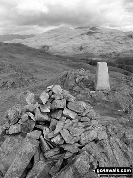 Great Stickle (Dunnerdale Fells) summit cairn and trig point