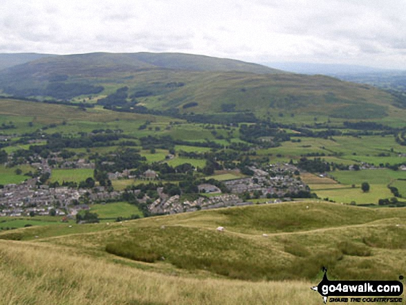 Sedbergh from Arant Haw with Long Rigg Fell and Holme Fell beyond