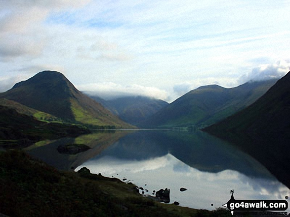Yewbarrow (left), Great Gable (centre in cloud), Lingmell and the shoulder or Scafell Pike (right) from across Wast Water