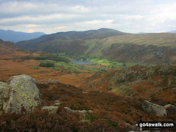 Watendlath from Great Crag. Walk route map c270 Low Saddle and Ullscarf from Stonethwaite photo