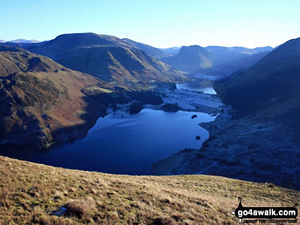 Crummock Water and Buttermere with Grasmoor (far left), Robinson, Hindscarth and Dale Head (left), Fleetwith Pike (centre) and Red Pike (Buttermere) (far right) from Mellbreak
