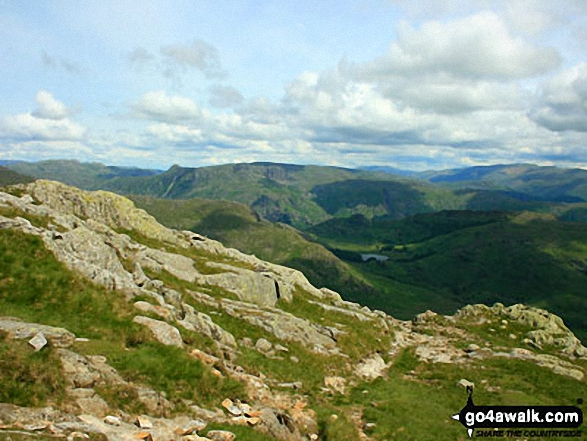 The Langdale Pikes from Wetherlam Edge