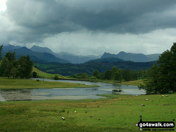 The Langdale Pikes from Wise Een Tarn