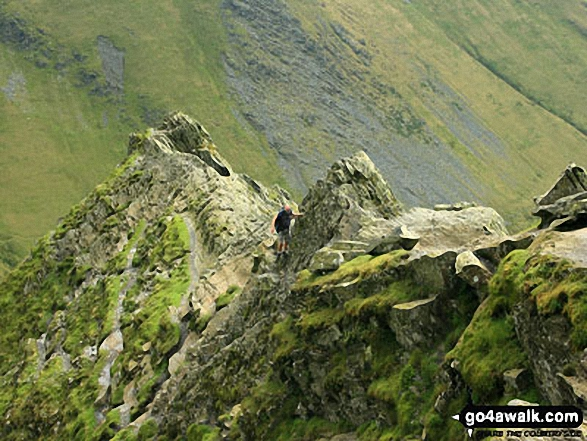 A walker negotiates the 'awkward place' on Sharp Edge