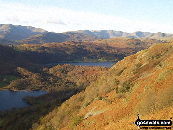 Rydal Water and Grasmere from the shoulder of Nab Scar