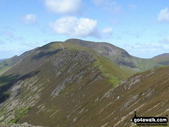 Scar Crags with Sail (Derwent Fells) and Crag Hill (Eel Crag) beyond from Causey Pike