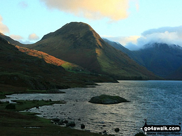 Yewbarrow at sunrise from Wast Water. Walk route map c233 Sca Fell and Scafell Pike from Wasdale Head, Wast Water photo