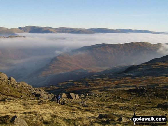 Above the mist on Pike of Blisco (Pike o' Blisco) looking down the Langdales with Side Pike and Lingmore Fell in the middle distance