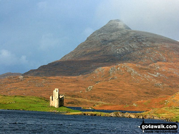 Ardvreck Castle on the shores of Loch Assynt with Quinag beyond from Ichnadamph