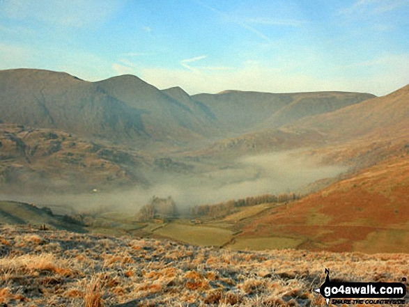 Kentmere with Yoke, Ill Bell, Froswick and Thornthwaite Crag above from Hollow Moor