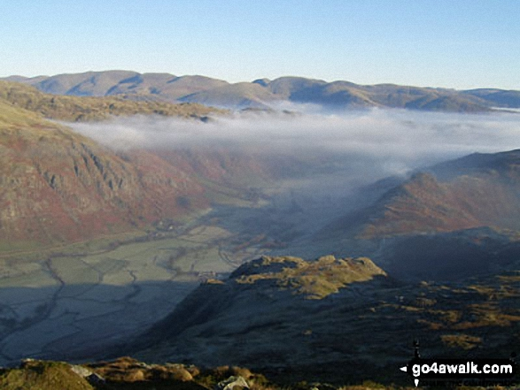 The Langdale Pikes (left) and Great Langdale from Pike of Blisco (Pike o' Blisco)