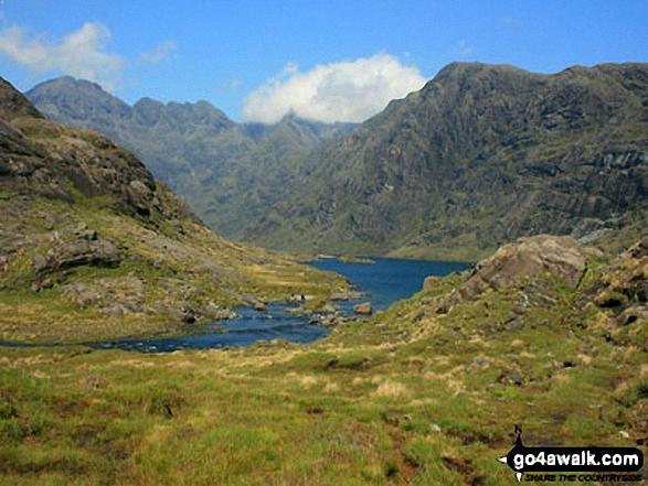The Cuillin Hills featuring Sgurr a Ghreadaidh and Druim nan Rambh (right) and Loch Coruisk from near Coruisk Memorial Hut on the shores of Loch Scavaig