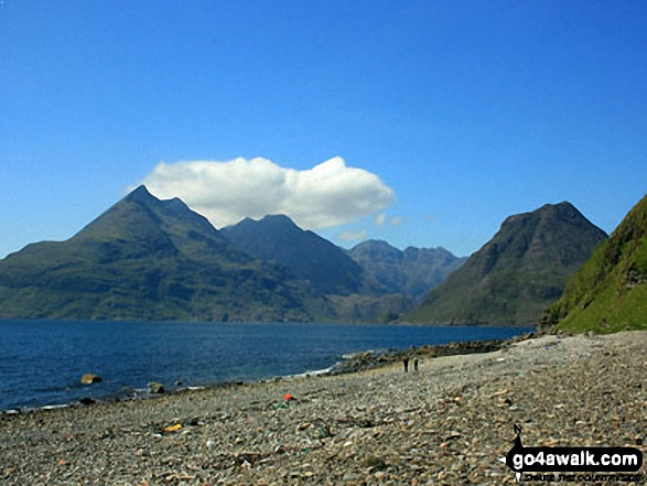 The Black Cuillin (including Sgurr nan Eag, Sgurr Dubh Mor, Sgurr Alasdair, Sgurr Mhic Choinnich and Sgurr Dearg (Inaccessible Pinnacle) with Marsco (right) across Loch Scavaig from Elgol