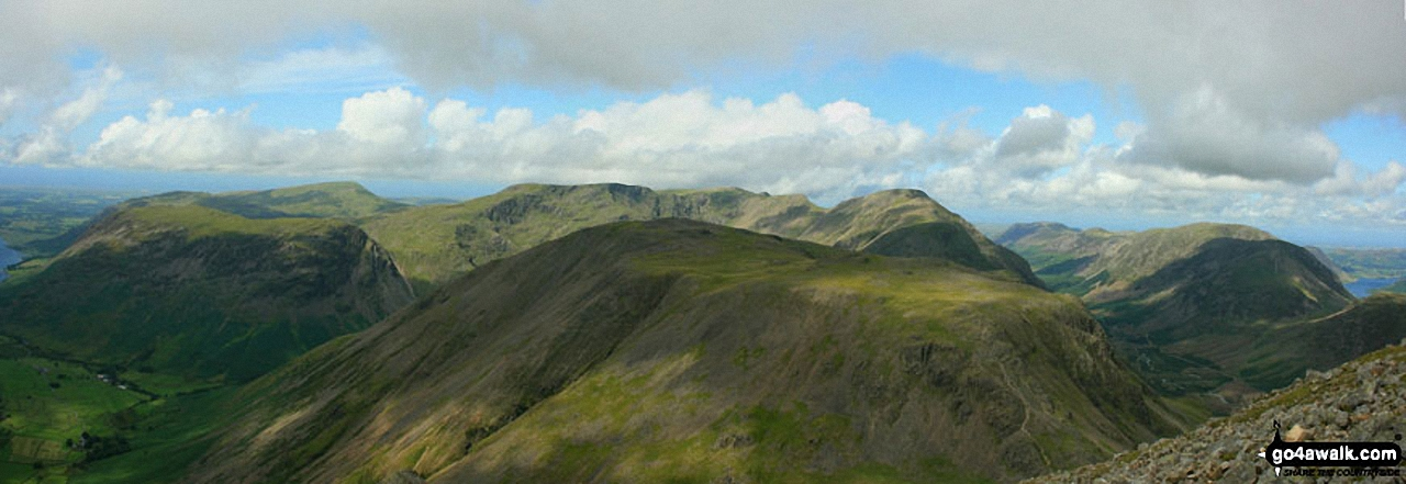 Westmorland Cairn, Great Gable panorama featuring Kirk Fell (foreground centre), Wast Water, Wasdale and Yewbarrow with Middle Fell and Seatallan beyond (left), Red Pike (Wasdale), Little Scoat Fell and Pillar behind Kirk Fell (centre) and Ennerdale with Red Pike (Buttermere), High Stile, High Crag and Crummock Water (right)