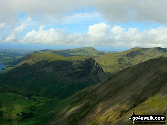 Wast Water, Wasdale and Yewbarrow with Middle Fell (left) Seatallan (background centre), Red Pike (Wasdale) (right) and the shoulder of Kirk Fell (centre foreground) from Westmorland Cairn on Great Gable