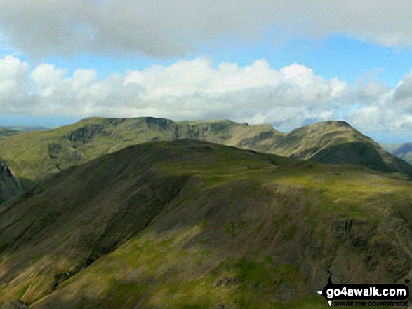 Kirk Fell with Red Pike (Wasdale), Little Scoat Fell and Pillar behind from Westmorland Cairn, Great Gable