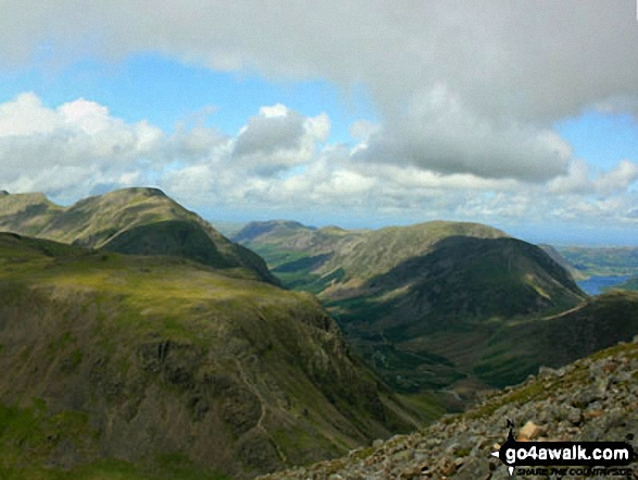 Kirk Fell (foreground), Pillar, Ennerdale, Red Pike (Buttermere), High Stile, High Crag and Crummock Water (far right) from Westmorland Cairn, Great Gable. Walk route map c141 Great Gable and Pillar from Wasdale Head, Wast Water photo