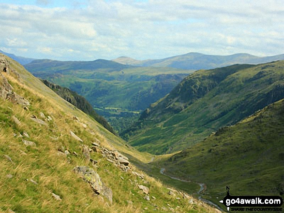 Borrowdale and Styhead Pass from the slopes of Great Gable above Sty Head. Walk route map c141 Great Gable and Pillar from Wasdale Head, Wast Water photo