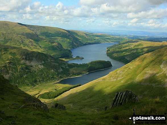 Haweswater Reservoir from Gatescarth Pass. Walk route map c251 The Mardale Head Horizon from Mardale Head photo