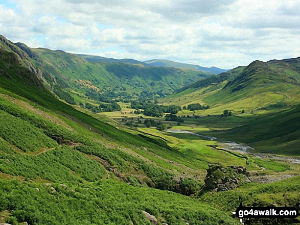 Walk c108 Crinkle Crags from The Old Dungeon Ghyll, Great Langdale - Great Langdale with Blea Rigg, Lang How and Silver How (left) and Lingmoor Fell (right) from the foot of Oxendale