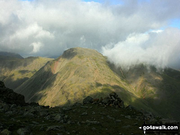 A moody looking Great Gable from Great End's north ridge close to Custs Gully. Walk route map c271 The Scafell Massif from Wasdale Head, Wast Water photo