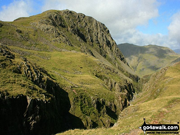 Lingmell Crag from across Piers Gill
