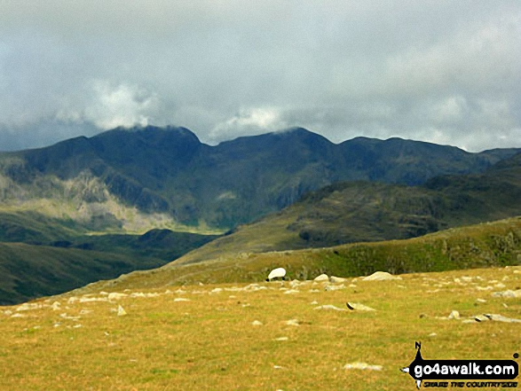 Walk c179 The Seathwaite Round from Seathwaite, Duddon Valley - The Scafell Massif featuring Scafell Pike (centre) and Sca Fell (centre left) from Swirl Band between Swirl How and Levers Hawse