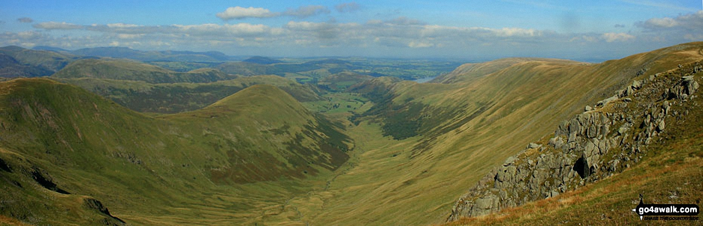 Rest Dodd (far left), The Nab (left), The Ramps Gill Valley, Wether Hill (right), Keasgill Head, Red Crag, Raven Howe and High Raise (Mardale) from Rampsgill Head
