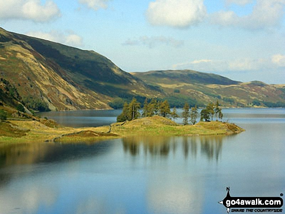 Speaking Crag across Haweswater Reservoir from Rowantreethwaite Beck. Walk route map c114 High Street from Mardale Head photo