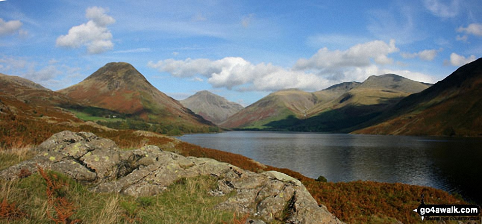 Britain's Favourite View - Yewbarrow, Great Gable, Lingmell, Great End, Sca Fell and the shoulder of Illgill Head (far right) from Wast Water