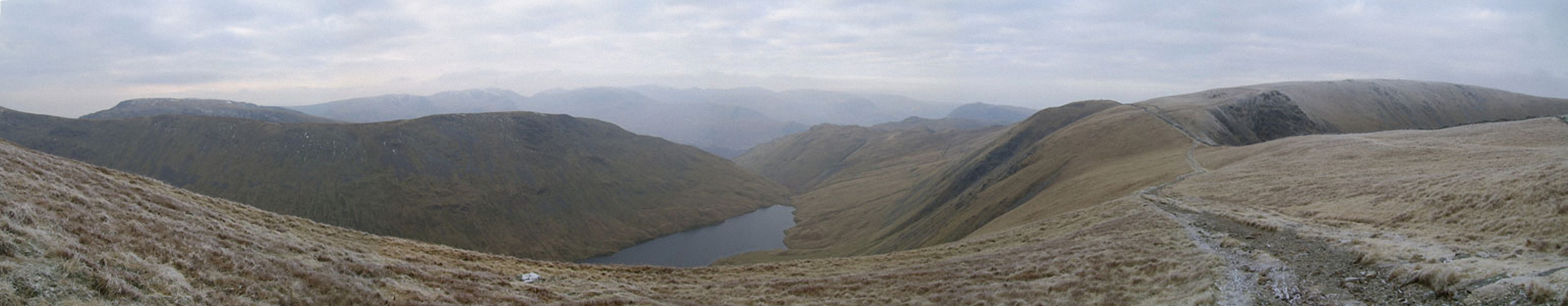 *Hayeswater with the Fairfield and Helvellyn Ridges beyond from High Street