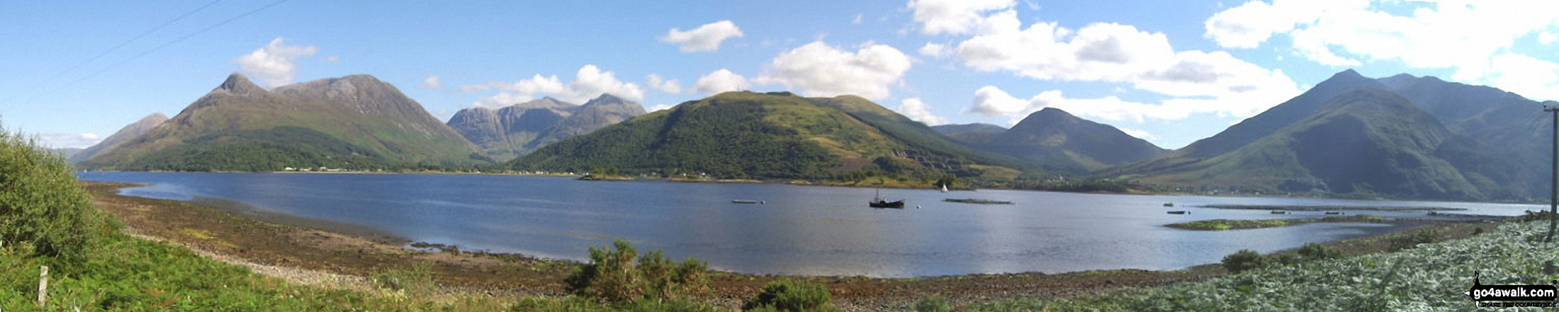 The Pap of Glencoe, The Three Sisters of Glen Coe, Meall Mor, Beinn Fhionnlaidh, Sgorr Dhearg, Beinn a' Bheithir and Sgorr Dhonuill from across Loch Leven