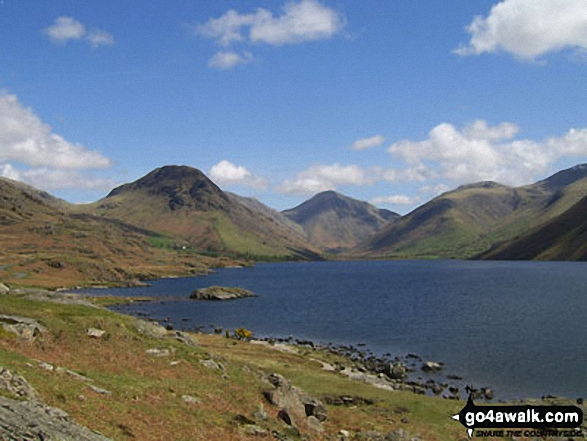 Yewbarrow, Great Gable and Lingmell from Wast Water. Walk route map c233 Sca Fell and Scafell Pike from Wasdale Head, Wast Water photo